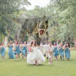 dinosaur-chasing-bridal-party