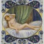 Photograph of an illuminated page from a book of Shakespeare sonnets illustrated by artist Alberto Sangorski with a female nude on a bed