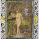 Photograph of an illuminated page from a book of Shakespeare sonnets illustrated by artist Alberto Sangorski wiht nude woman in an arcadian pastoral fantasy landscape