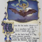 Photograph of an illuminated page from a book of Shakespeare sonnets illustrated by artist Alberto Sangorski that depicts a scene from The Tempest of a boy riding in the night sky on the back of a bat