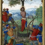 1444167597-munich-montserrat-hours-ms.-3-leaf-2v-the-martyrdom-of-saint-sebastian-about-1535-1540